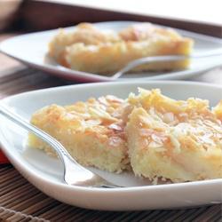 Buttery peach almond cake.