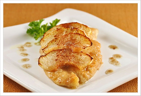 Bourbon-basted chicken with roasted apples. Serve with oven-roasted ...