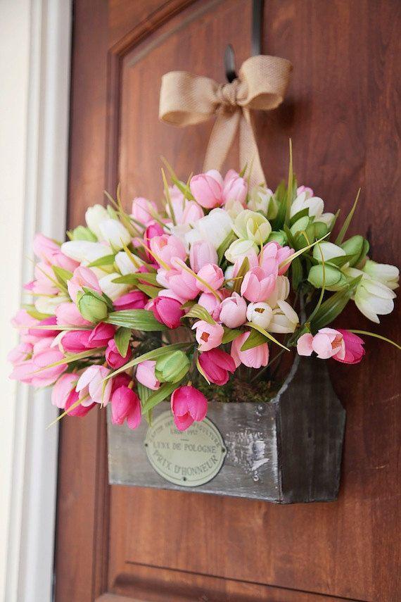 Easter wreath xl spring wreath front door wreath wreath for How to make door wreaths for spring