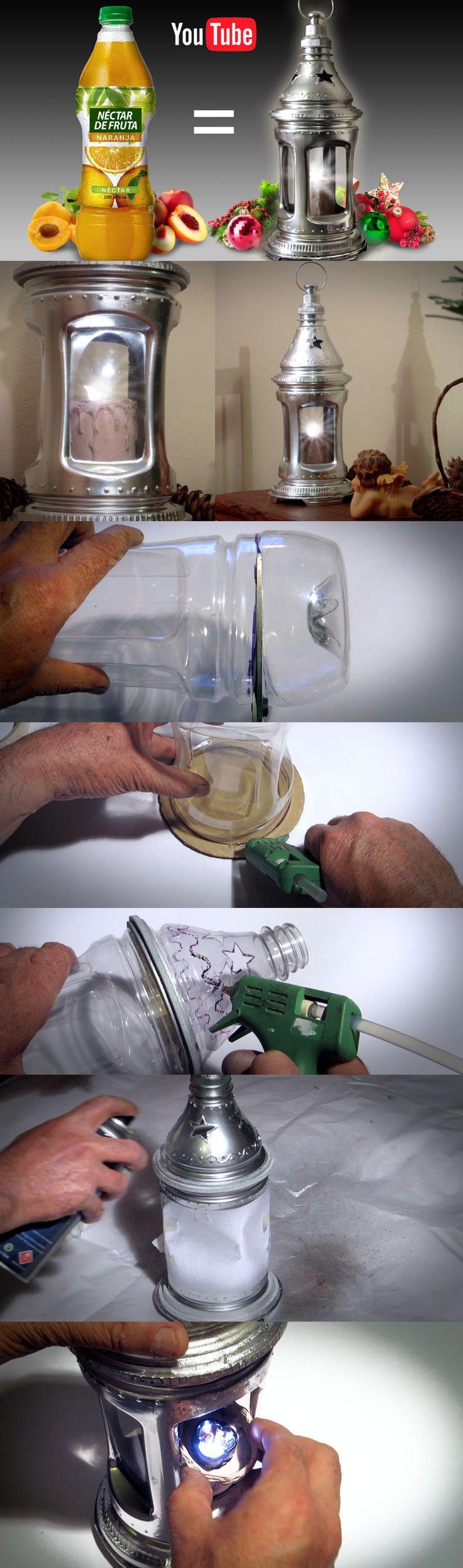 Новогодний фонарик из пластиковой бутылки своими руками