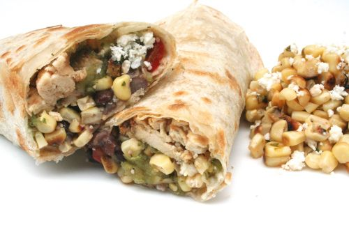 honey-lime chicken burrito w. tomatillo sauce, Cuban-style black beans ...