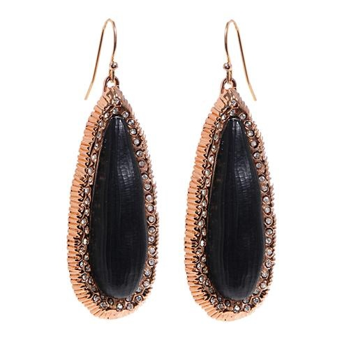 SALE-Alexis Bittar Leger Black Lucite Rose Plated Earrings with Swarovski
