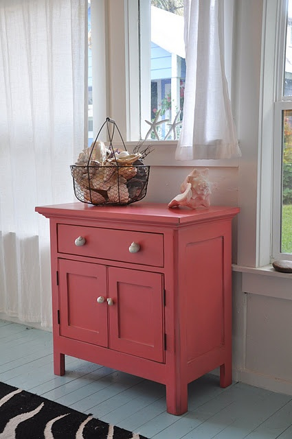 turn this small coral cabinet into a small rolling kitchen island