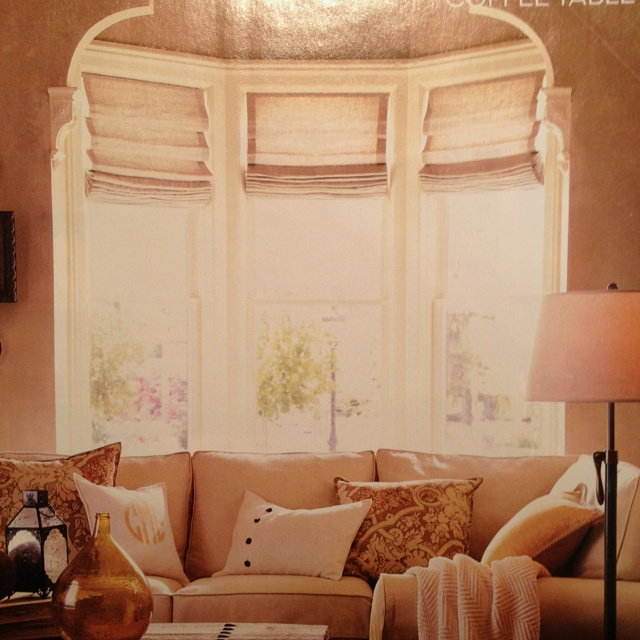 Bay window roman shades for the home pinterest for Roman shades for bay windows