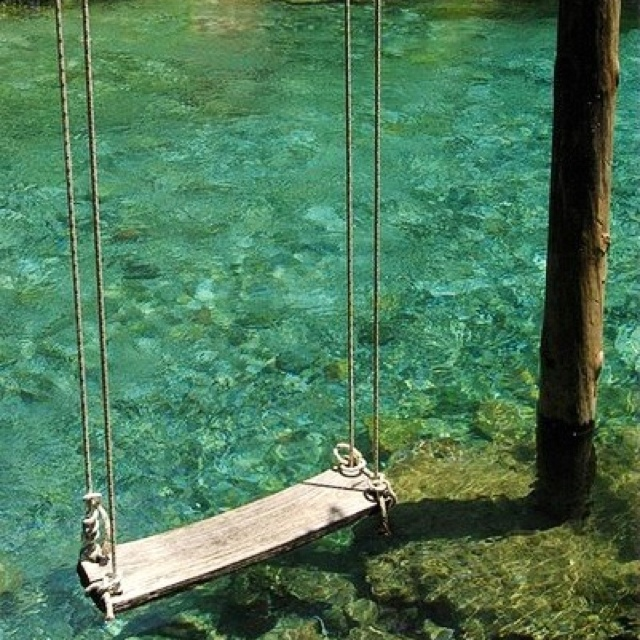 A swing over the water delightful dream home pinterest for Swing over water