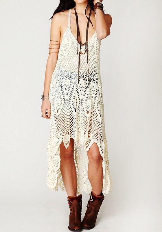 Crochet Maxi Dress : Another Firefly option. Boho Crochet Maxi Dress - Beige