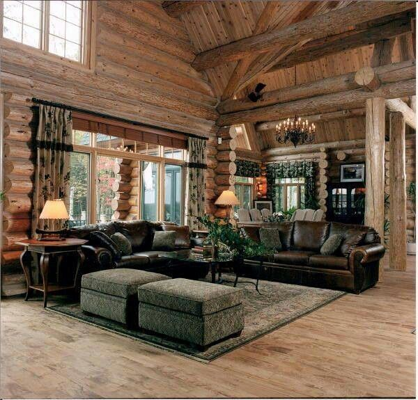 Living Room Log Cabins Pinterest