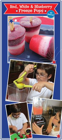 All-natural red, white and blueberry freeze pops recipe for kids!