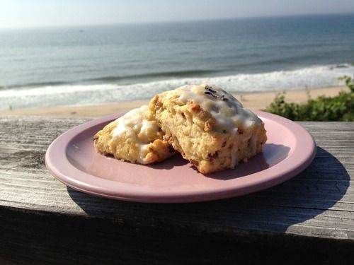 Lavender and Toasted Walnut Scones with a beach view