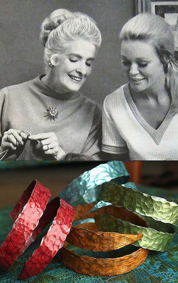 Turn Grandma's old knitting needles into a colorful hammered bangle bracelet. #EtsyCustom