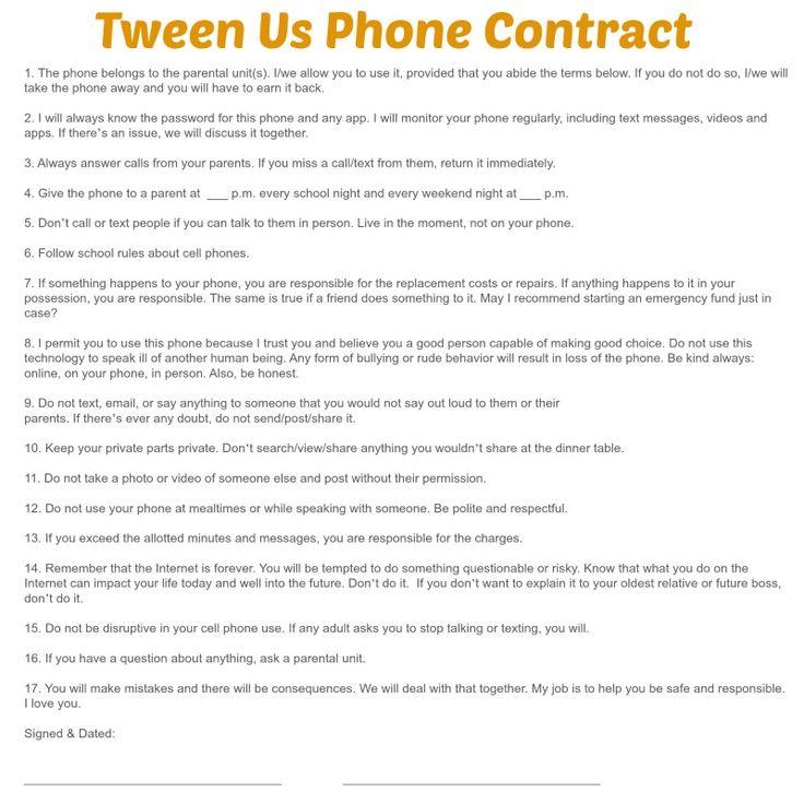 Parent Child Smartphone Contract Blog Posts