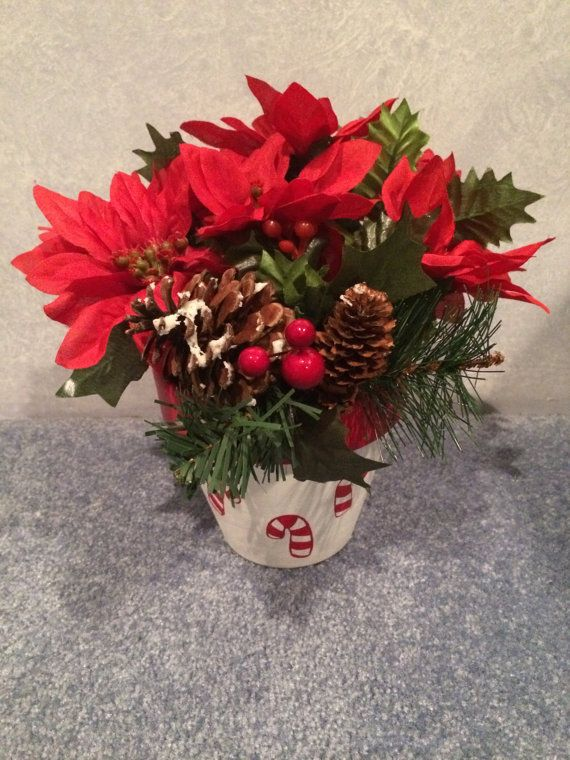 Poinsettia flower arrangement hand painted candy cane pot for Poinsettia arrangements