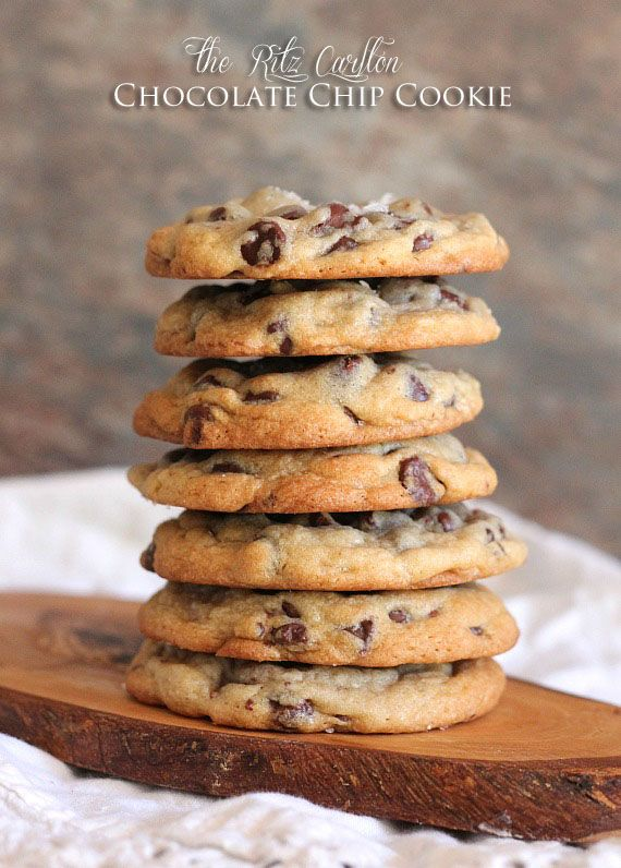 Ritz Carlton Chocolate Chip Cookies     1 1/4 pounds unsalted butter (5 sticks), room temperature     2 cups granulated sugar     2 cups dark brown sugar     5 eggs     1 Tbsp vanilla     1 tsp baking soda     1 tsp kosher salt     6 cups flour     4 cups semi sweet chocolate chips