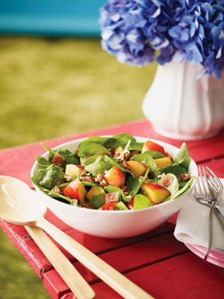 Spinach and Nectarine Salad with Pecans and Warm Bacon Vinaigrette