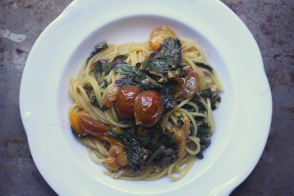 Spaghetti with Beet Greens and Blistered Tomatoes #pasta #recipe