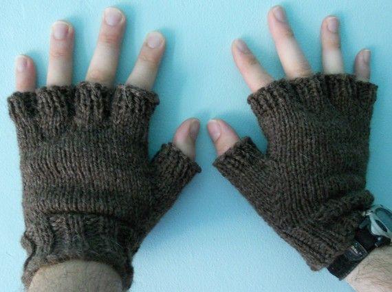 Knitting Pattern For Mens Fingerless Mittens : Knitting Pattern PDF - Fingerless Gloves for Men and Women