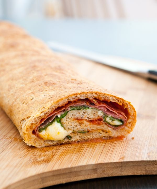 Spinach and Salami Stromboli by EclecticRecipes.com #recipe