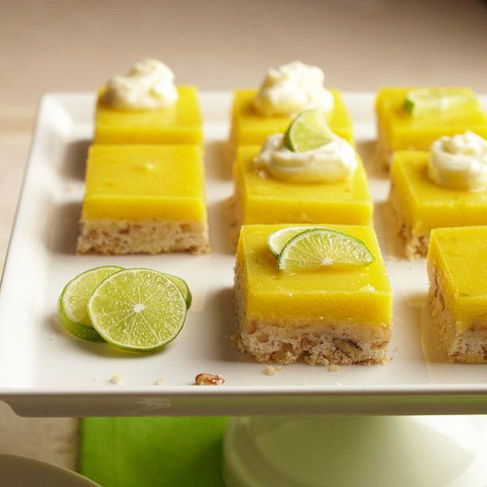 Lime-Pecan Shortbread Bars              Sweetened mascarpone cheese and a rich Key lime filling top pecan-studded shortbread