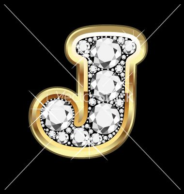 U Alphabet In Diamond Gold and Diamond Letter J | So me | Pinterest