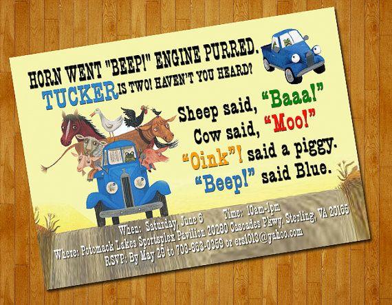 Little blue truck invitations similiar little blue truck birthday invitations keywords filmwisefo
