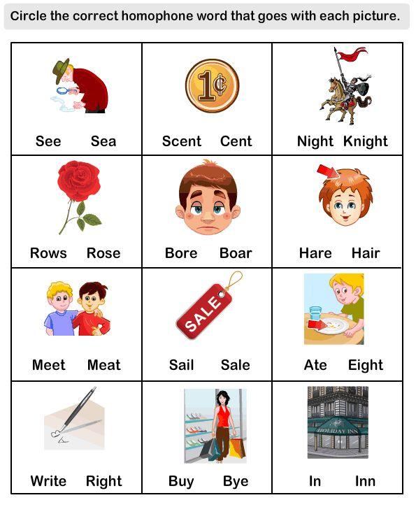 ... efl Worksheets - kindergarten Worksheets - Homophone Word Worksheets