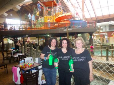 I love how this family dressed for their son's Bar Mitzvah celebration at a water theme park! Check out the custom t-shirts on the Mom, Grandmother and Aunt.
