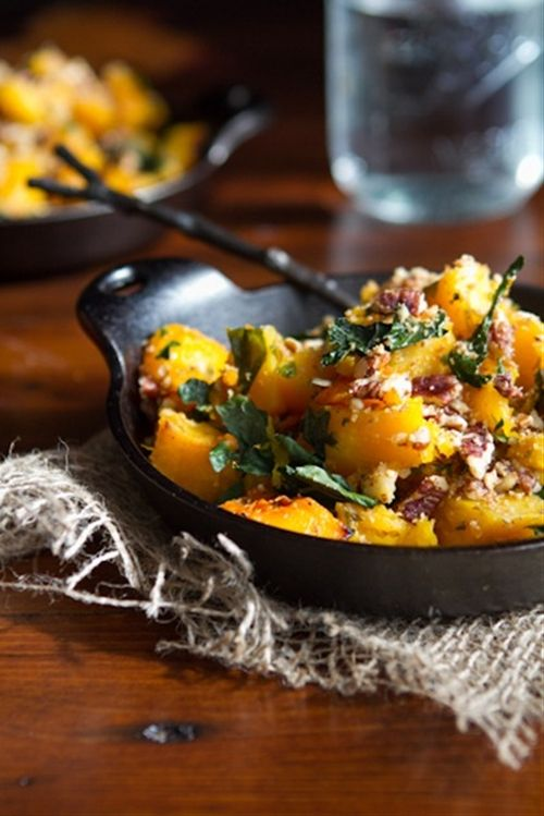 Roasted Butternut Squash with Kale and Almond Pecan Parmesan