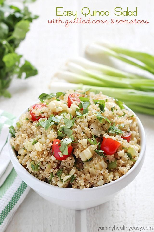Quinoa Salad full of healthy quinoa, grilled corn, cherry tomatoes ...