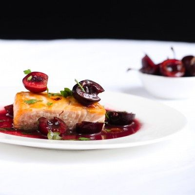 salmon with cherry and red wine sauce | Food & Drink | Pinterest