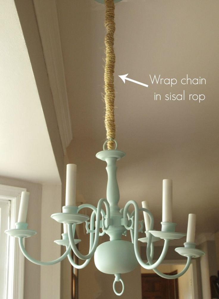 mint and sisal chandelier