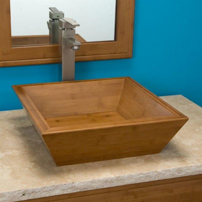 Tapered Square Bamboo Vessel Sink Bathrooms Pinterest