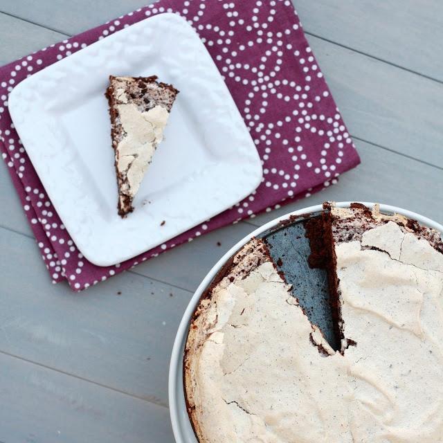 dark chocolate brownie cake with peppermint meringue