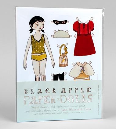 Black apple paper dolls wishing for pinterest