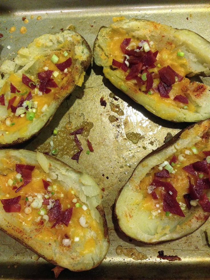 Potato Skins With Cheddar And Bacon Recipe — Dishmaps