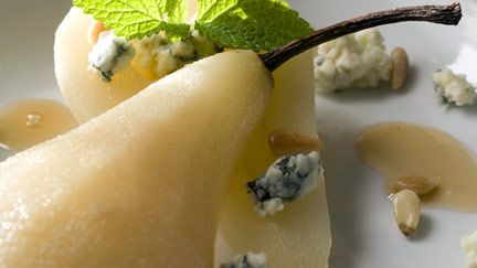 Gorgonzola Cheesecake With Vanilla Pear Compote Recipe — Dishmaps