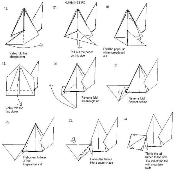 origami hummingbird instructions. Black Bedroom Furniture Sets. Home Design Ideas