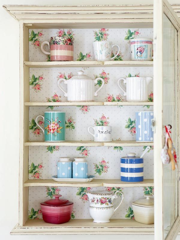 rose lined cupboard