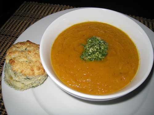 Carrot Soup with Dill Pesto and Sour Cream and Chive Biscuits by Kevin ...