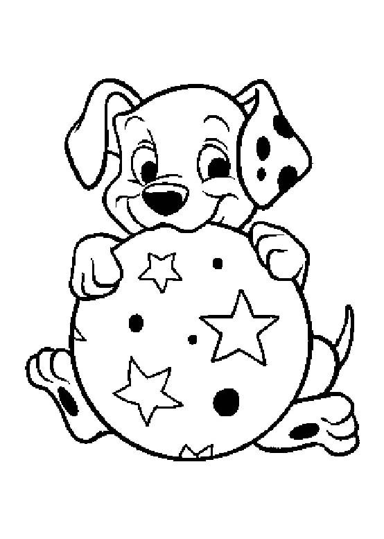 baby dog dalmatians with ball coloring pages dalmatians coloring