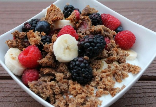 . chia seeds, berries, banana, sunflower butter, and crumbled muffin ...