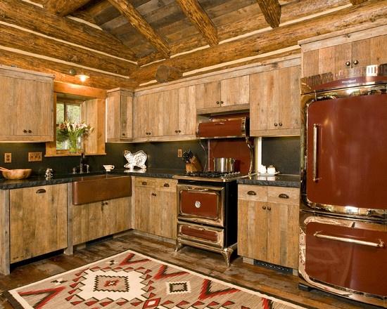 Country kitchen log cabin living pinterest - Pinterest country kitchen ...