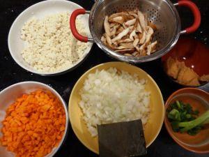 Ingredients to make kenchinjiru (a vegan Japanese stew)