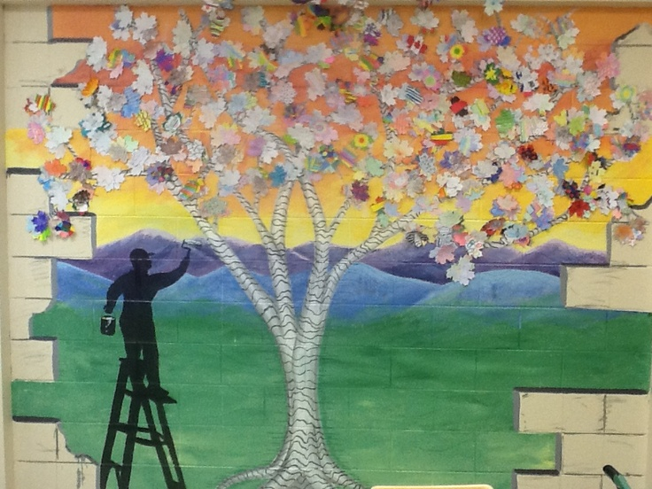 Classroom mural with changing leaves classroom for Classroom mural