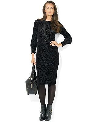 ralph lauren long sleeve boat neck dress
