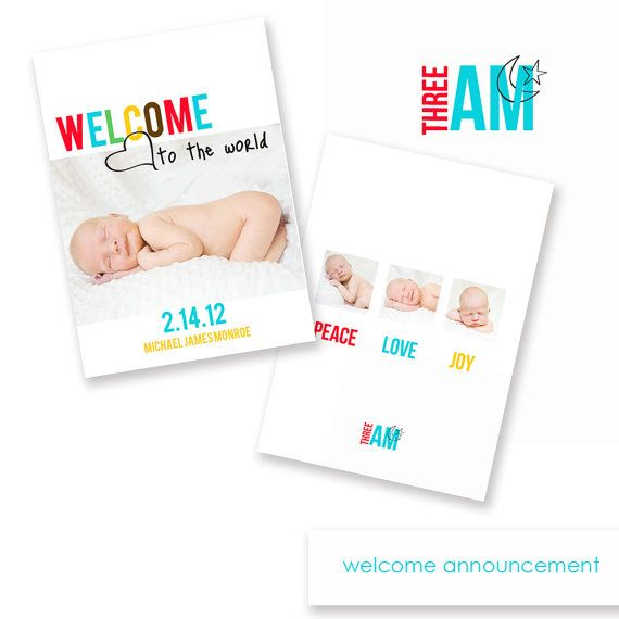 Welcome Birth Announcement Template by ThreeAM on Etsy, $8.00 ...