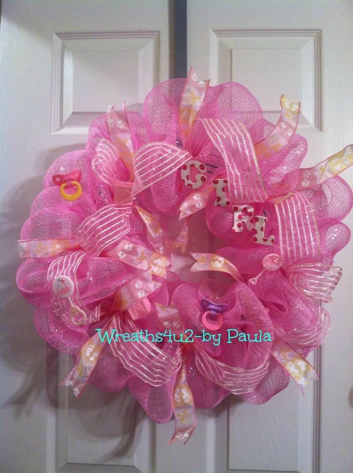 baby girl wreath baby shower wreath pinterest