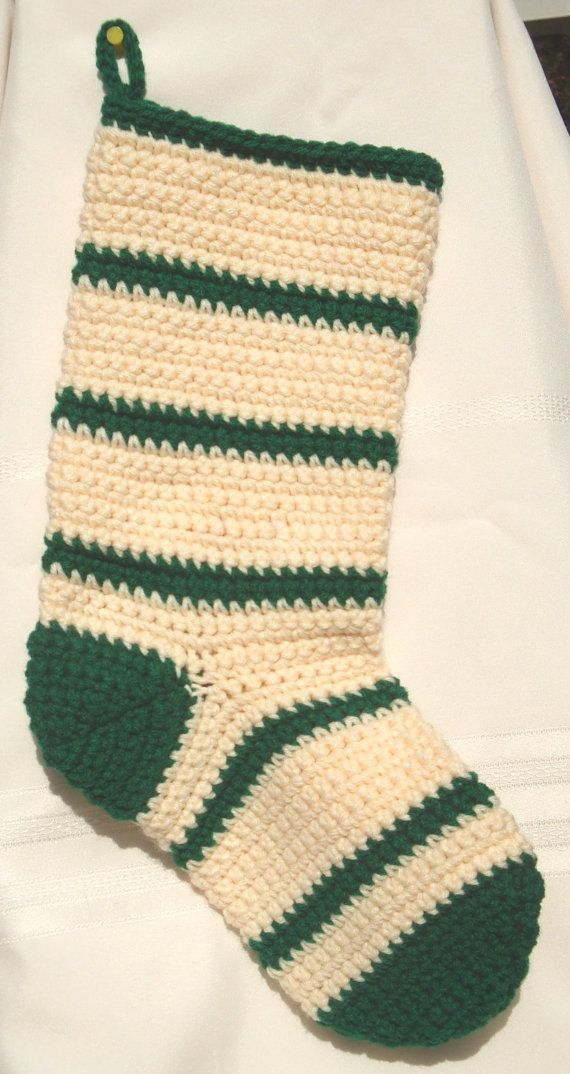 Crochet Xmas Stocking : Crocheted Christmas Stocking-Cream and Green