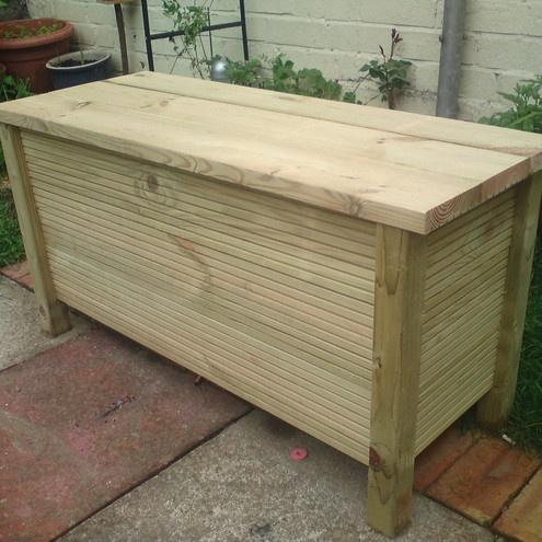 Handmade Wooden Garden Storage Bench