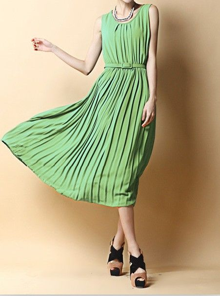 Bohemian style pleated lime chiffon dress dresslily com
