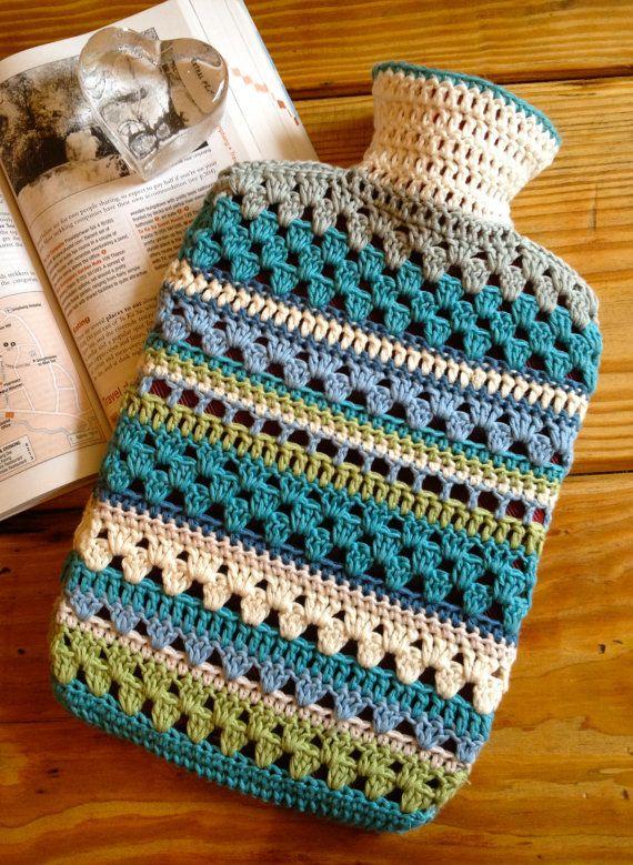 Crochet Granny Square Hot Water Bottle Cover Pattern : PDF Pattern - Crocheted Hot Water Bottle Cover